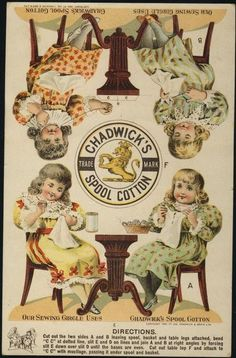 Chadwick's thread Victorian trade card, UNCUT Paper Dolls front