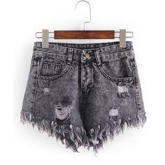 Raw Hem Grey Denim Shorts ($23) ❤ liked on Polyvore featuring shorts, grey, destroyed jean shorts, jean shorts, ripped denim shorts, patterned shorts and summer shorts