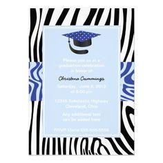 Funky Blue Zebra Graduation Invitation