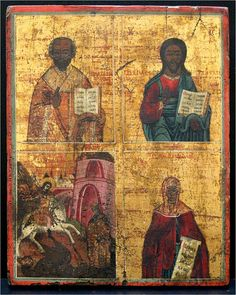 Russian Quadripartite icon: 1. Saint Nicholas the Wonderworker and Archbishop of Myra in Lycia [† c. 345]. 2. Christ Pantocrator. 3. Holy Victory-bearer and Wonderworker George [† 303] slaying the Dragon. 4. Holy Great-martyr Paraskeva of Iconium [3rd C].	  Age: XVIII Century