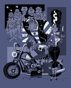 Crankenstein Meets the Biker Bride by Derek Yaniger (retro illustration, bad people)