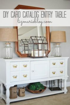 diy card catalog entryway table, diy, foyer, painted furniture, The piece after is the perfect addition to our entryway Diy Entryway Table, Entry Tables, Entryway Storage, Entryway Ideas, Entryway Console, Entryway Wall, Console Tables, Diy Table, Furniture Makeover