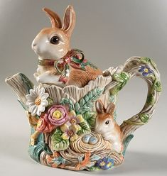 Fitz & Floyd Woodland Spring Teapot