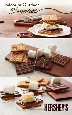 Whether you're planning a bonfire or a sleepover, HERSHEY'S Indoor or Outdoor S'mores is a fun recipe that is quick and easy to make for any special event. Made with HERSHEY'S Milk Chocolate Bars.