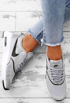 Sequin Sky Rose Gold Glitter Slip On Trainers Nike Air Max Thea Grey Trainers Nike Air Max Thea Grau, Nike Thea, Gray Nike Shoes, Grey Nikes, Cute Shoes, Me Too Shoes, Grey Trainers, Adidas Trainers Outfit, Womens Nike Trainers