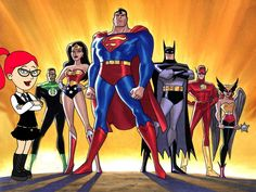the justice league including superman the green lantern, batman The Justice League Background is made up from an original meeting with superman, and batman They decided that they had to form a new super hero group, with a wide variety of powers. Justice League Unlimited, Marvel Dc, Marvel Funny, Marvel Comics, Hero Squad, Justice League Party, Super Hero Day, Super Man, Bruce Timm