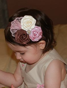 Baby Toddler Girl Boutique Fancy Triple  Ivory, Pink Mauve brown Roses with pearl and lace on Elastic Headband Photo Prop
