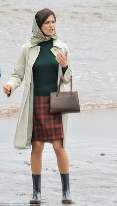 Leggy: Rachel looked fab in her tartan skirt and wellies as she prepped for her scenes on ...