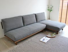LONG Walnut Sofa: Kizo (L-shaped sofa, couch sofa, chaise long) – Wooden Sofa Designs Diy Furniture Couch, Diy Sofa, Home Decor Furniture, Furniture Design, Living Room Decor Colors, Living Room Sofa Design, Home Room Design, Minimalist Sofa, Wooden Sofa Designs