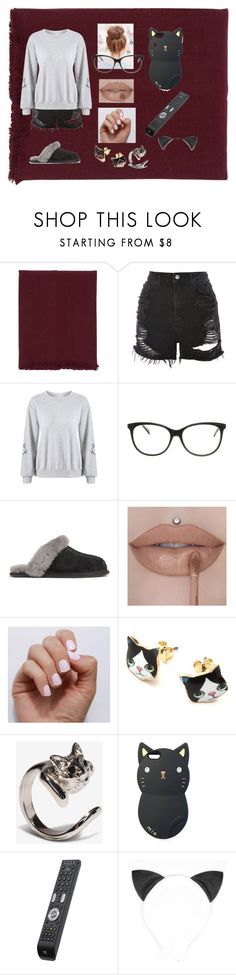 """Netflix And Chill"" by catsmeow123 ❤ liked on Polyvore featuring Once, Topshop, Just Cavalli, UGG and SoGloss"
