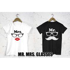 Koszulki dla par zakochanych komplet 2 szt Mr. Mrs. glasses
