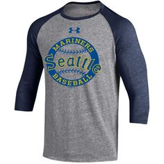 954aed04601f Men s Seattle Mariners Under Armour Gray Navy Baseball 3 4-Sleeve Tri-Blend  T-Shirt