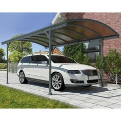 Palram Vitoria 5000 Carport - Gray / Bronze - Keep your car covered and enjoy the strength and versatility of the Palram Vitoria 5000 Carport - Gray / Bronze. This handsome car port is easy to ass...