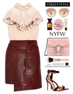 """""""NYFW Street Style: Day Two / Isabel Marant Foften wrap-effect leather mini skirt"""" by palmtreesandpompoms ❤ liked on Polyvore featuring Isabel Marant, Gucci, Gianvito Rossi, Miu Miu, Guerlain, Tom Ford, StreetStyle and NYFW"""