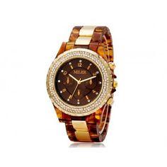 Assista Dual Analog Mark Dial das mulheres com PU pulseira de couro (vermelho) - LojaMundi.com