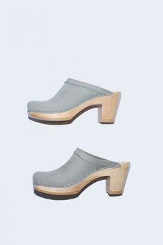 No. 6 Old School Clog on High Heel in Cement