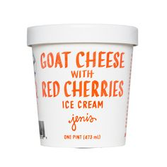 Mackenzie Creamery goat cheese and roasted, sweet-tart, bright red cherries. Mouthwatering and rich, it's like a scoopable cherry cheesecake.
