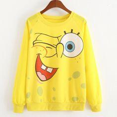 Cartoon SpongeBob Print T Shirt Women Long Sleeve O Neck Tees 2017 Kawaii Women Tops Tee Thirt Girls 3d Casual T-Shirts Clothes