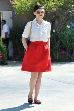 syle inspo: Ginnifer Goodwin. The skirt! The shirt! The red lip! The sungless! The hair! #styleinspiration #style #GinniferGoodwin