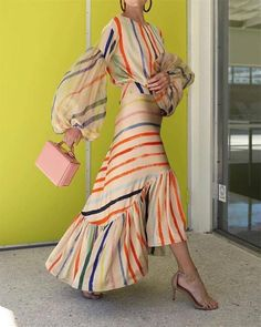 Buy Sundress Maxi Dresses For Women from Misslook at Stylewe. Online Shopping Stylewe Summer Dresses Sundress Going Out Flounce Crew Neck Balloon Sleeve Paneled Holiday Dresses, The Best Going Out Maxi Dresses. Discover unique designers fashion at stylewe Estilo Fashion, Skirt Suit, Dress Brands, Boho Dress, Stylish Outfits, Fashion Dresses, Summer Dresses, Maxi Dresses, Fashion Design