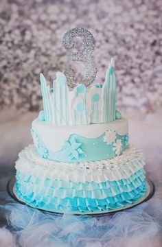 Frozen tiered birthday cake by Cakes by Emily, Frisco, TX Frozen Birthday Party, Frozen Party, Princess Birthday, Birthday Cake, Birthday Celebration, Birthday Party Themes, Birthday Ideas, Frozen Cake, Cupcake Cakes
