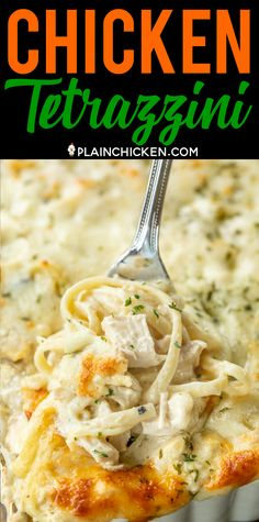 Chicken Tetrazzini - super delicious make ahead casserole! Makes a great freezer meal! Chickenlinguine cream of chicken soup cream of mushroom soup sour cream butter chicken broth salt pepper garlic parmesan cheese mozzarella cheese. SO creamy Cream Of Chicken Soup, Butter Chicken, Cream Of Mushroom Pasta, Cream Soup, Chicken Caseroles, Creamed Chicken, Chicken Pasta Dishes, Chicken Soups, Rotisserie Chicken