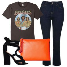 Denim Trend: Cropped Flares - For a relaxed date-night ensemble, wear cropped flares with sexy ankle-tie sandals, a vintage band T-shirt and a pop-of-color clutch.