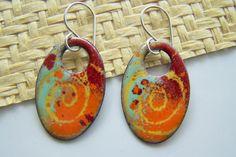 Copper Enamel Oval Earrings Orange Yellow Red by EllianneEnamels, $32.00