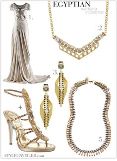 Egyptian wedding inspiration. Gown: Alexander McQueen. Jewelry: Rachel Leigh. Shoes: Renee Caovilla.