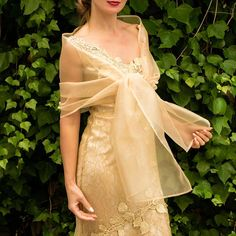 Excited to share this item from my shop: Organza light golden gold color wrap shawl bolero Winter wedding shrug elegant accessory 200 cm Filipiniana Wedding Theme, Modern Filipiniana Dress, Maria Clara Dress Philippines, Gold Bridesmaid Dresses, Wedding Dresses, Filipino Fashion, Wedding Shrug, Dress With Shawl, Color Dorado