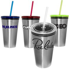 stainless steel tumbler with polypropylene liner and straw and acrylic lid. Screw-on top. Straw will not fall out when top is screwed on. Screw It, Water Bottles, Drinkware, Tumblers, Stainless Steel, Mugs, Glasses, Fall, Top