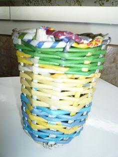 Maite Reciclando: Cesteria de papel.vaso porta pinceles .