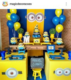 Minion Theme Birthday Party Dessert Table and Decor Dessert Party, Birthday Party Desserts, 3rd Birthday Parties, Dessert Tables, Minions Birthday Theme, Minion Party Theme, 1st Boy Birthday, Cake Birthday, Despicable Me Party