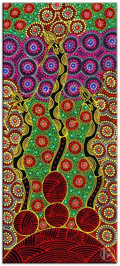 """""""Dreamtime Sisters"""" (Colleen Wallace Nungari). Das Gemälde zeigt die Dreamtime Sisters. Aborigines aus Zentral-Australien (Eastern Arrernte Aboriginal) nennen die spirtuellen Wesen """"Irrernte-arenye"""". Sie sollen bestimmte Landabschnitte in besonders heiligen Stätten beschützen. Das aufsteigende rote Muster des Gemäldes stellt die geschützte Traumzeit-Stätte dar."""