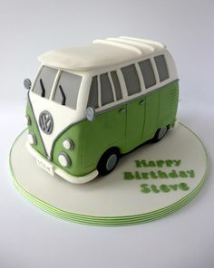 Here is my first attempt at a camper van. I wasn't quite sure how this would turn out so was really pleased with the outcome. Camper Van Cake, Camper Cakes, Vw Camper, Cake Icing, Fondant Cakes, Cupcake Cakes, Bus Cake, Truck Cakes, Fancy Cakes
