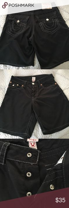 True Religion shorts for men Pre owned true religion shorts for men. In Black color. It's more of a Matt black with gray stitching. It's says swimwear but you can wear it  regular as well not necessarily to swim. May show very little signs of wear. Size 36. Very soft material. True Religion Shorts