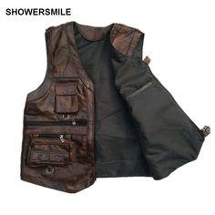 SHOWERSMILE Brown Vest Mens Leather Waistcoat Real Leather Motorcycle Vest With Many Pockets Photography Vest Sleeveless. Click visit to buy