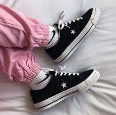 0545c1a1e56f Converse One Star Trainers Black Black White - Hers trainers