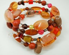 Orange Bracelet Multi Color Bracelet Red Bead Bracelet by mscenna, $16.00