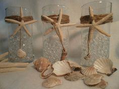 Nautical Wedding  Glass Vases Beach Decor Nautical by tiasdresses, $20.00  *Can totally make these