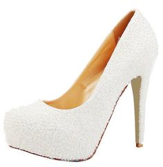 HONEYSTORE WOMEN'S WEDDING PEARLS HEELS SHEEPSKIN PUMP 4.92 INCHES 8 B(M) US  - Click image twice for more info - See a larger selection of bridal shoes at   http://zweddingsupply.com/product-category/bridal-shoes/ - woman , wedding , wedding fashion, wedding style, wedding ideas, woman fashion, shoes.