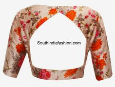 Boat neck floral print raw silk blouse
