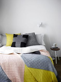 modern quilts in modern interiors – Salty Oat This vibrant color-blocked quilt is also from Country Road,