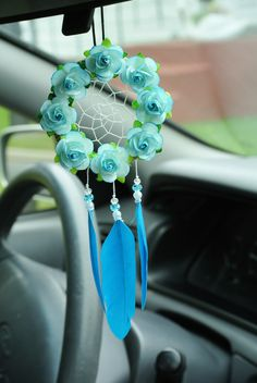 Seaside Blue Car Dreamcatcher: Rearview by SarahDycePaintings Dream Catcher Decor, Small Dream Catcher, Dream Catchers, Car Interior Accessories, Car Accessories For Girls, Blue Bedroom Decor, Rear View Mirror, Wind Chimes, Etsy Shop
