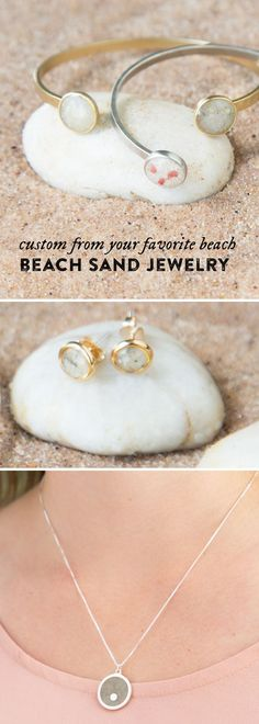 Beach memories, preserved for a lifetime. Treasure your favorite beach with custom jewelry that showcases the sand.: