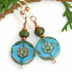 """""""Turquoise Flowers"""" - Turquoise #Flowers #Handmade #Earrings, Unique Summer Czech Glass Beaded Jewelry - $20.00 - SOLD *"""