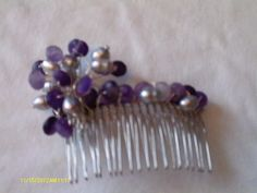 Handmade Hair Combs gift idea by Patricia Dixon found on MyOwnCreation: Wire Hair Comb with Zambian Amethyst Rondels, Silver Cultured Pearls and Silver Wire.