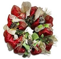 Holiday Mesh Wreath - Home Spun with Pine Cones - Sam's Club