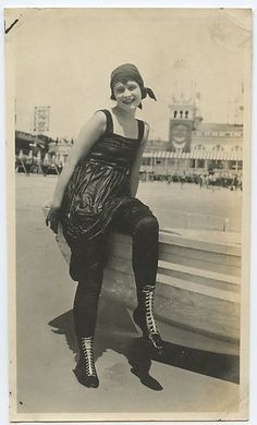 victorian era bathing suit | circa 1920 photo of a young woman just out of the water at the beach ...