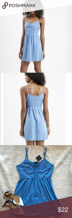 NWT: Topshop Crochet Lace-up Sundress, sz 8 NWT: Topshop light blue crochet lace-up sundress with spaghetti straps from a smoke-free, pet-free home. Size: US 8 (fits 6-8) Topshop Dresses Mini